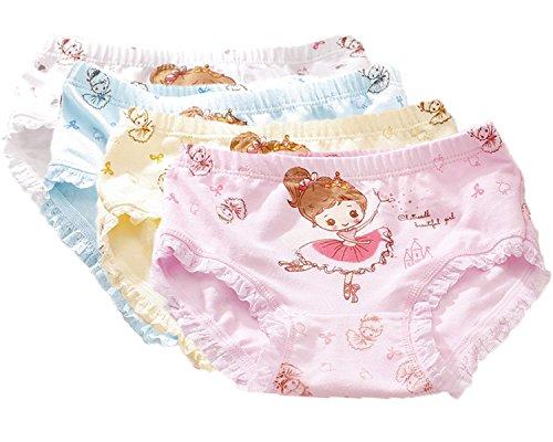 FAIRYRAIN 4 Packung Baby Kleinkind Mädchen Ballett Prinzessin Pantys Hipster Shorts Spitze Baumwollunterhosen Unterwäsche 4-6 Jahre (Mädchen Prinzessin Für Unterwäsche)