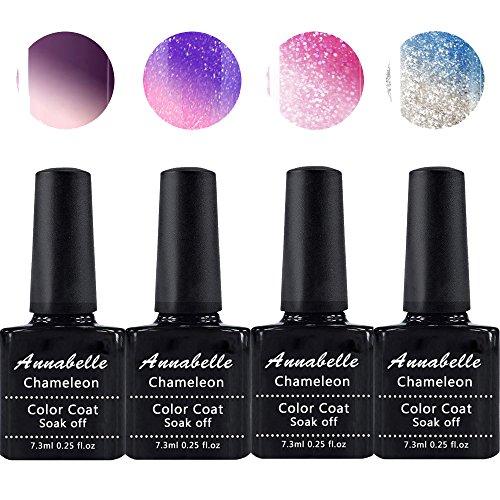 Annabelle Thermo Nagellack UV Nagellack Soak Off UV Gel Nagellack Nail Art Top Coat Base Coat 7.3ml (7.3ml/pc Lot de 4) 016