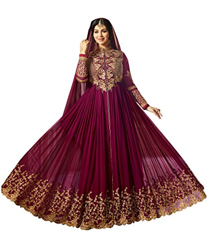 Ethnic Yard Faux Georgette heavy Embroidred and Hand work Anarkali Gown