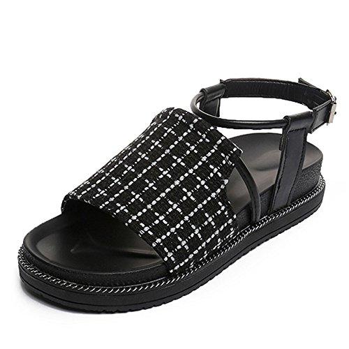 XZGC Sommer Sandalen Dornschließe Armband Frauen Flacher Boden Spiel Slip Charakter Für Frauen Schuhe, 40 EU, Schwarz (Peep Spiel)