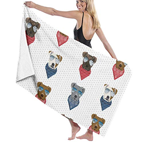 Pitbull Sunglasses Summer Bandana Dog Breed White Large Towel Blanket for Travel Pool Swimming Bath Camping Yoga Girl Women Men 32 X 52 Inch