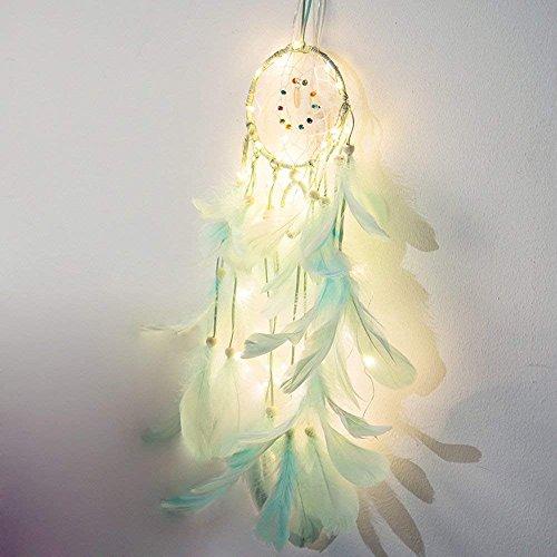 Ndier Atrapasueños luz de Noche, Red Circular Hecha a Mano con Plumas Colgantes decoración Ornamento Regalo de artesanía (Azul Claro)