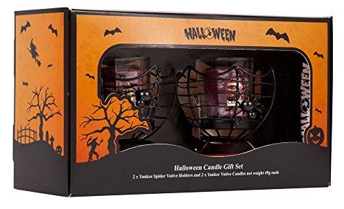 Candele di Yankee Set di regali di Halloween TWO Spider Web Supporto Votive Supporto e due lampadari di campanello Twist Cranberry Matt Black Metal con Spider Spooky Hanging & Inserti di Vetro