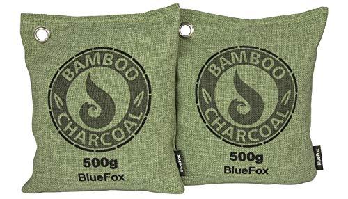 Blue Fox 2er Set 500g Luftentfeuchter Bambus Aktivkohle Geruch Duftsäckchen Auto Badezimmer-Schrank Bambuskissen Sport Anti-bakteriell gegen Schweiß Schimmel Feuchtigkeit wiederverwendbar in grün