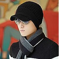 sheng Mâle hiver laine coréenne tricot chapeau épais cache-oreilles chaud chapeau noir