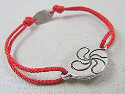 Bracelet cordon tréssé Lauburu basque 18mm finition argent 925