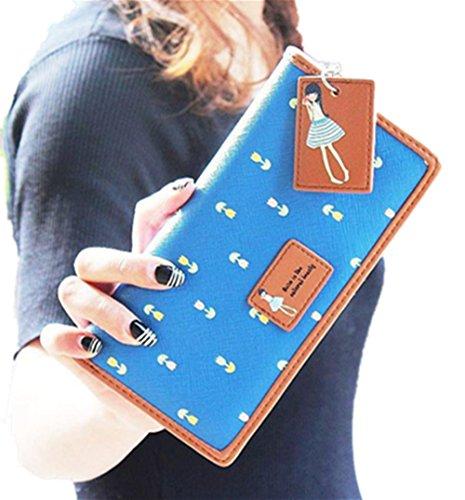Zip-beutel Brieftasche (Ouneed® Damen Lange Geldbeutel Clutch Portemonnaie Zip-Beutel-Kartenhalter Brieftasche Geldbörse Handtasche (Blau))