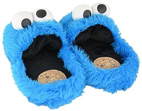 Krümmel Monster Slippers Size 8–10Plush Shoe Slippers Soft Toy Plush Toy Sesame Street Cookie Monster