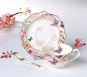 FAMIWORKS Fine Bone China Teacup Cucchiaio e Piattino Set, Grande Design Con Farfalla e Fiore Di Ciliegio, 170 Millilitri (Colore Rosa)