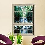 Bomeautify Wandtattoos Wandbilder 3D Stereo Fensteraufkleber Fenstergitter Simulationsfenster Wohnzimmer Schlafzimmer Arbeitszimmer dekorative Malerei HD selbstklebend (80 * 58cm)