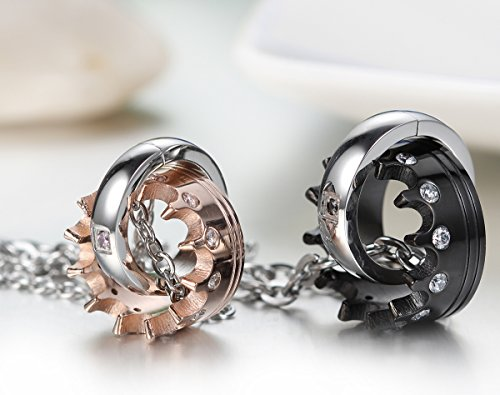 JewelryWe Schmuck 2 Freundschaftsketten Krone Ring Edelstahl Partner-Anhänger mit 45cm und 54cm Kette, Halskette für Damen & Herren, Gold Schwarz Silber - kostenlos Gravur