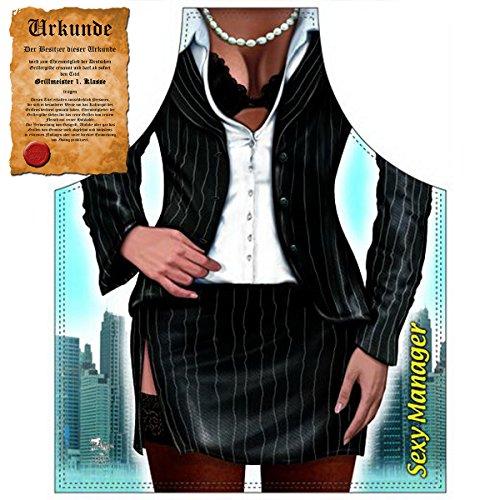 Mann Kostüm Womens Tin - Sexy Grillschürze ! Top Scherzartikel zum Geburtstag, für Partys, Karneval,...: Business Woman !! GRATIS Urkunde dabei !!