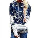 Tianwlio Damen Winter Langarmshirt Hoodie Pullover Mode Weihnachten Reißverschluss Punkte Drucken Tops Kapuzenpullover Pullover Bluse T-Shirt Blau M