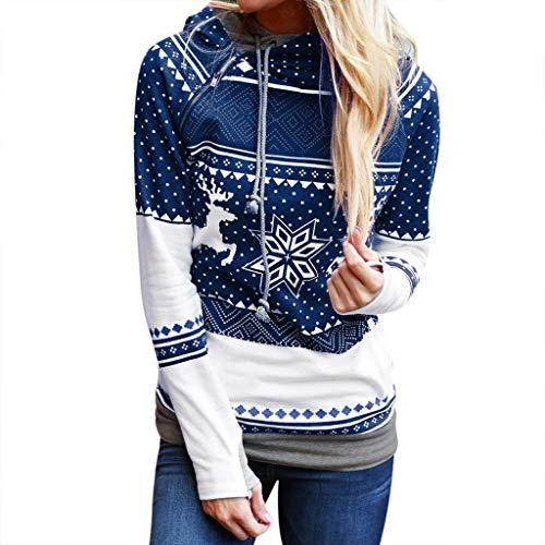 JURTEE Damen 2019 Jacken, Weihnachtsfrauen Reißverschluss Punkte Drucken Tops Kapuzenshirt Pullover Bluse T Shirt(Small,Blau)