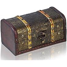 Caja de madera de BRYNNBERG |Cofre del tesoro pirata de estilo vintage | Hecha a mano | Diseño retro |