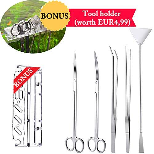 a1b00cd7d0746 NAN-YAN 5 en 1 Aquarium en Acier Inoxydable spatule Brucelles Eau végétale  Scissor Outil