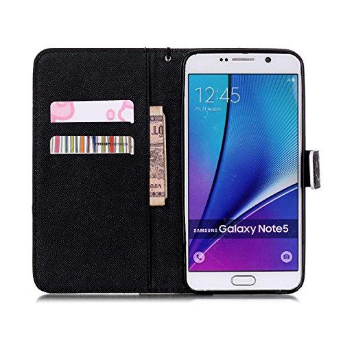Meet de Samsung Galaxy Note 5 N920i Bookstyle Étui Housse étui coque Case Cover smart flip cuir Case à rabat pour Galaxy Note 5 Coque de protection Portefeuille - this iphone is locked slide to unloke crâne