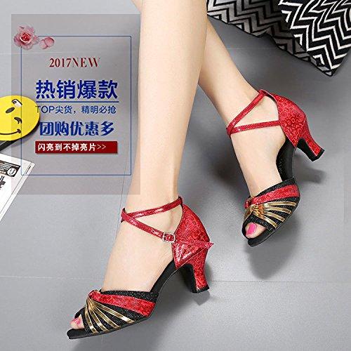 DGSA Latin Dance Shoe weibliche Erwachsene mit high-heel Square Dance Tanz Schuh weiche Böden mit niedrigen Sommer Sandalen Champagne Gold innen Bgf