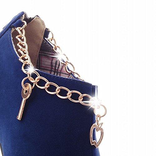 Mee Shoes Damen modern elegant runder toe Trichterabsatz Nubukleder mit Metall-Dekoration Geschlossen Reißverschluss Plateau Pumps Blau
