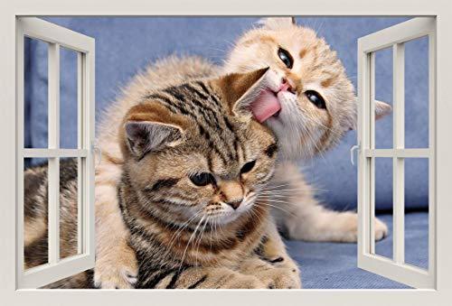 Unified Distribution Kätzchen kuscheln - Wandtattoo mit 3D Effekt, Aufkleber für Wände und Türen Größe: 92x61 cm, Stil: Fenster -