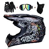 LTongx Motos Motocross Cascos y Guantes y Gafas estándar para niños ATV Quad Bicicleta go Casco de Kart,M(54~55cm)