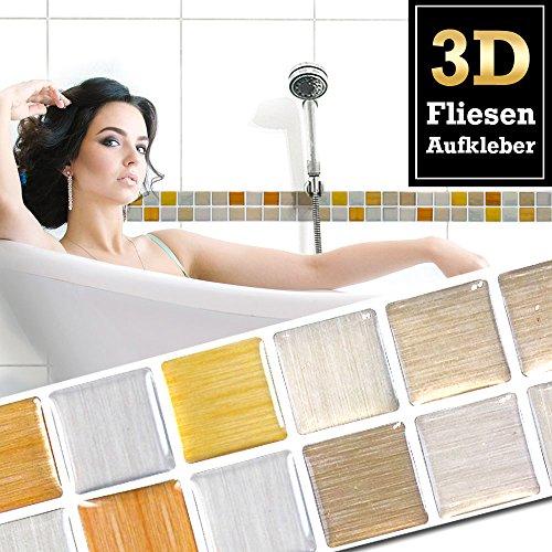 Wandora 5 Stück 25,3 x 5 cm Fliesenaufkleber Kupfer Gold Silber Mosaik I Selbstklebende 3D Fliesen Küche Bad Fliesendekor Fliesenfolie W1424 - Kupfer-mosaik-glas