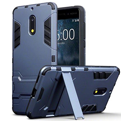 Terrapin, Kompatibel mit Nokia 6 Hülle, Silikon + Polycarbonat Tasche mit Standfunktion - Dunkelblau