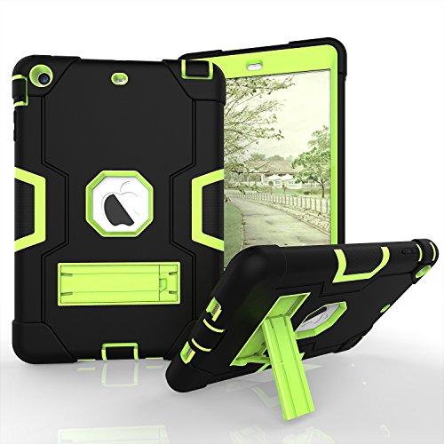 Yoomer Schutzhülle für iPad Mini 2, iPad Mini 3, dreilagiges Silikon + Harte PC Bumper Armor Defender strapazierfähig stoßfest robust Hybrid Schutzhülle mit Ständer für iPad Mini 1/2/3, Schwarz/Grün - Ipad Harry Case Mini Potter