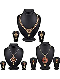Spargz Gold Plated Kemp Stones Traditional Designer Jewellery Set Combo 534