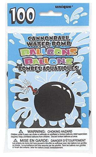 unique-party-5227-paquet-de-100-ballons-bombe-a-eau-latex-forme-de-boulet-de-canon