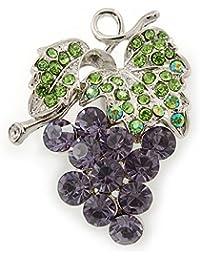 Lavanda, verde cristal broche de racimo de uvas en rodio chapado - 45 mm L