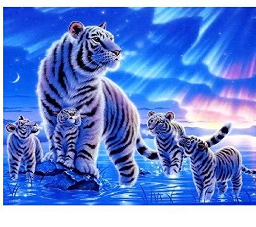 Aurora Tigres Animal Diy Pintura Digital Por Números