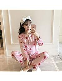 A~LICE&SY& Pijamas de otoño e Invierno Inicio Casual Oro Terciopelo Damas Pijamas Fresa impresión