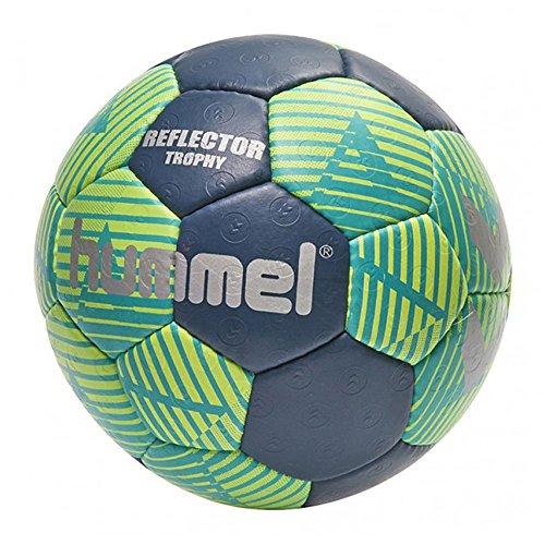 Hummel Handball Größe 0, 1, 2 oder 3 für Spiel & Training - REFLECTOR TROPHY HB - Harz Trainingsball Freizeit & Sport - Ball Blau & Gelb mit Air-Trap-Ventil\n