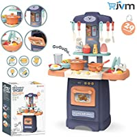 JVM Luxury Battery Operated Kitchen Play Set with Realistic Lights & Sounds,Simulation of Spray, Play Sink with Running Water,Dessert Shelf Toy & Kitchen Accessories Set Super Toy for Kids