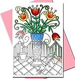Art Eclect - Tarjetas de felicitación y agradecimiento para colorear, para adultos | 10 diseños únicos para colorear y enviar | con sobres incluidos | de «The Garden» (El Jardín), color rosa