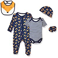 Lilly And Jack Monochrome Woodland Theme Clothes for Baby, Unisex Set, 0-3 Months - Black, Pack of 5