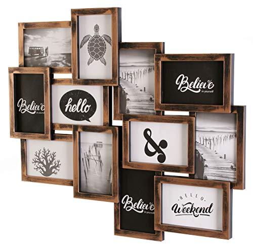 levandeo Bilderrahmen Collage 51,5x51,5cm Kupfer Schwarz Industrial Galerie Industrie 12 Fotos 10x15cm Deko Glasscheiben