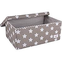 Preisvergleich für Minene 1248 Aufbewahrung Box Groß, Grau mit weißen Sternen, 60 x 40 x 25 cm