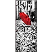 MCC 3D Tridimensional En la lluvia Rojo Paraguas Gris Calle Creativo Autoadhesivo Papel Pintado de la Pared de la Puerta , picture color