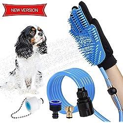 WOWGO 2018 Haustier Baden Dusche Duschhandschuh Hundedusche - Reinigungs-Handschuh mit 3 Wasserhahn-Anschlüssen für Hunde Katzen Pferde für Drinnen und im Freien
