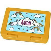 Preisvergleich für Brotdose mit Namen Aaron - Motiv Einhorn, Lunchbox mit Namen, Frühstücksdose Kunststoff lebensmittelecht