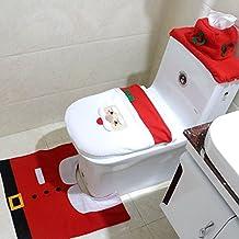 Jentay Christmas Happy Santa Toilet Decor Seat Tank Cubierta de tejido y tapete para decoración navideña