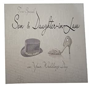 White cotton cards WB8 chapeau et chaussure Son and Daughter-In-Law on Your Wedding Day Fait main Blanc