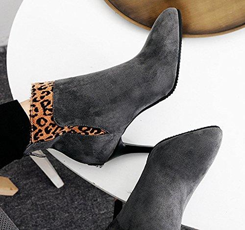 Femme Bottines Pointues Low Eclair Sexy Gris Léopard Boots Aisun 4Zavn0xvq