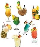 Kühlschrankmagnete Cocktail - 8er-Set Magnete für Magnettafel mit Motiv Karibische Cocktails Lust auf Karibik