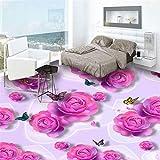 LANYU 3D Bodenfliese Tapete Romantische Rosa Rose Schmetterling Mode Wandbild Aufkleber Schlafzimmer Badezimmer PVC Boden Tapete, 200 * 140Cm