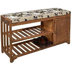 ts-ideen - Banco con estante para zapatos, diseño rústico alquería, color marrón
