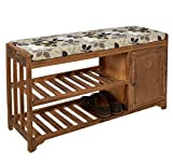 Hall bench seat settee shoe rack shelf country house style - upholstered - brown - 89 cm width ()