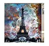 AnazoZ Duschvorhang Anti-Schimmel, Wasserdicht Vorhang an Badewanne Antibakteriell, Bad Vorhang für Dusche 3D Eiffelturm, 100% PEVA, inkl. 12 Duschvorhangringen 180 x 200 cm